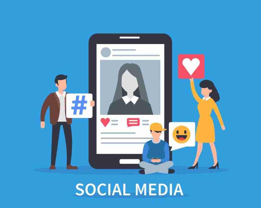 illustration of people holding up social media hashtag, love, emoji in front of social media profile on tablet or smartphone